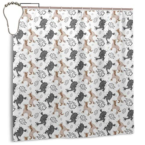 - KGODJSLEsa Chinese Crested Fabric Wallpaper Shower Curtain with Hooks 72''x72'', Shower Curtain for Bathroom Home Decor
