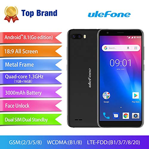 Gallity Ulefone S1 4G Smartphone Pro Mobile Phone 5.5 inch 18:9 MTK6739 Quad Core 1GB RAM 16GB ROM 13MP+5MP Face Unlock Android 8.1 (Black) by Gallity (Image #2)