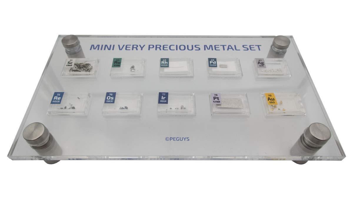 PEGUYS Mini Very Precious Metal Set with Acrylic Stand and 10 x Periodic Elements Tiles Iridium Rhodium Osmium Scandium Palladium Rhenium Gold Silver Platinum