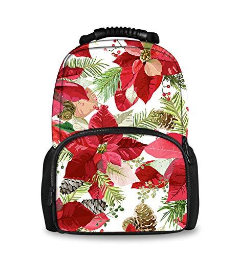 (Fashion Men Backpack Poinsettia Flowers Seamless Background Felt Bookbags for School)