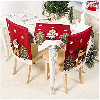 Amazon.com: Shan-S Christmas Chair Cover,Dining Room Santa ...