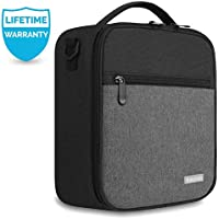 Lunch Bag with Firm Foil-BPA FREE,Amersun Reusable Insulated School Lunch Box|Durable Thermal Lunch Cooler Pack with Strap for Kids Boys Men Women Girls Adults,Spill-resistant & 2 Pockets (Black Gray)