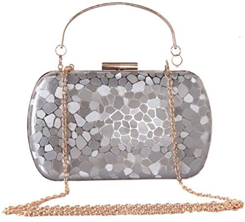 PU Color Cube Bettyhome Bag Fashion Evening Clutch Handle Women Purse Silver Water Diff Pattern qfwqEp