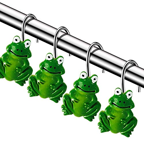 Chictie Set of 12 Frog Shower Curtain Hooks Stainless Steel Cartoon Decorative Bathroom Hanger Rings Kids Favorite Animal Green Home Decor ()
