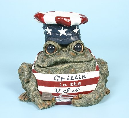 Toad Hollow Homestyles 94145 Figurine Grillin in the USA with Apron and Chef Hat in Patriotic Red White & Blue Grill Character Garden Statue Large 8.5″ Toad Figure Natural Green Review