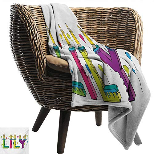 EwaskyOnline Lily Couch Blanket Hand Drawn Merry Arrangement of Letters Birthday Themed Female Name with Balloons Blanket on Bed Sofa Bedding 91
