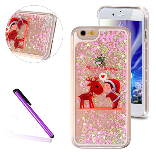 iPhone 4 Case,iPhone 4S Glitter Cover,LEECO 3D Quicksand Bling Shinny Flowing Liquid Shockproof Transparent Clear Hard Protective Case for Apple iPhone 4 / 4S,Deer&Child
