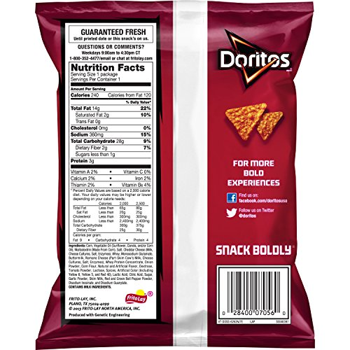 028400070560 - Doritos Nacho Cheese Flavored Tortilla Chips, 1.75 Ounce (Pack of 64) carousel main 3
