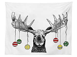 vipsung moose decor tablecloth christmas moose with xmas ornaments balls hanging from horns funny noel sketch art dining room kitchen rectangular table - Christmas Moose