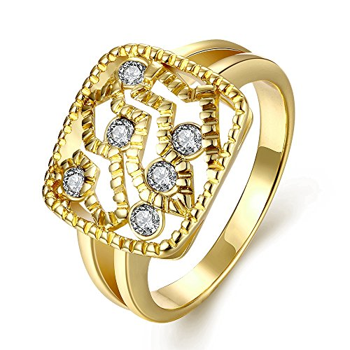 Old Person Couple Costume (Women's New Exquisite Fashion Jewelry Hot Sale Gold Square Hollow Pattern Zircon Wedding Ring)