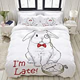 ALLMILL Duvet Cover King Size Funny Rabbit with Watches Disney Cartoon Alice 3pc Bedding Set (1 Duvet Cover and 2 Pillow Shams) 104'x90'