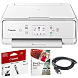 Canon PIXMA TS6120 Wireless All-in-One Compact Printer with Scanner & Copier White (2229C022) CLI-281 Black Ink Tank, Corel Paint Shop Pro X9 Digital Download & High Speed 6-foot USB Printer Cable