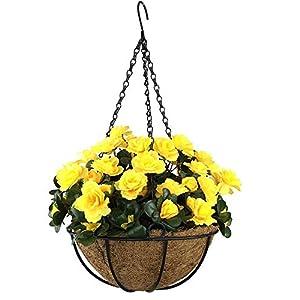 MARJON FlowersOutdoor Artificial Red Azalea Bush Flower Patio Lawn Garden Hanging Basket with Chain Flowerpot,Yellow 101