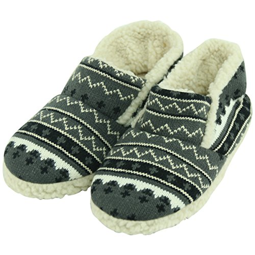 Forfoot Womens Slippers Warm Plush Non Slip Slip on Indoor Boots House Shoes Knit Grey zM2BtwP2O