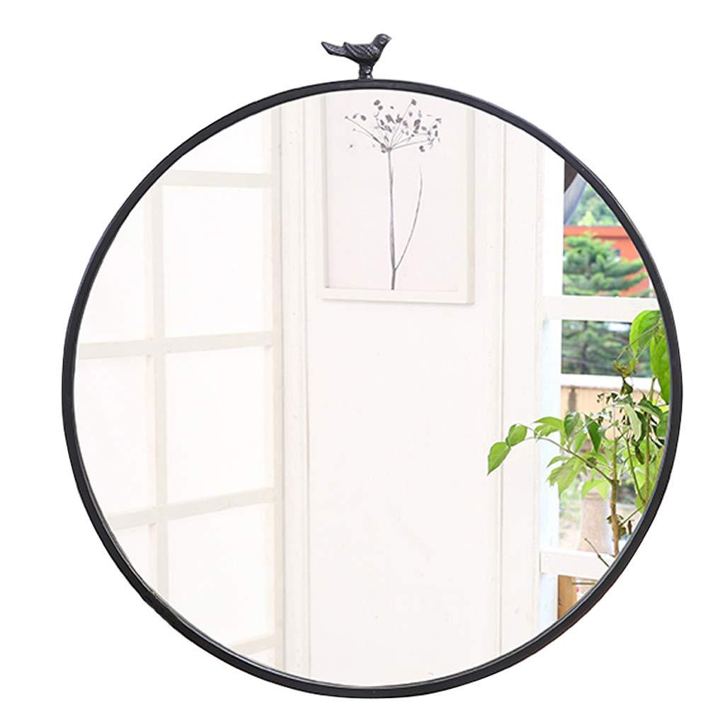 Zeitgenössische runde Metallrahmen Wand montiert Spiegel mit Vogel, Make-up Rasierspiegel Spiegel für Eingänge, Waschräume, Wohnzimmer, Inneneinrichtungen, in Gold und Schwarz