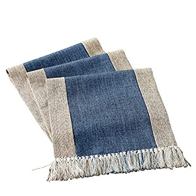 "HomeyHo Rustic Table Runner with Fringe Natural Home Table Runner Tea Party Table Runner Decorations Birthday Dinner Table Runner for Coffee Table Runner Long, 15 x 94 Inch, Blue - Material: High quality cotton blend fabric Features: Handmade table runner with fringe, modern rustic style, with well skid resistance and heat resistant, provide your dinning table a look of elegant, it's a good choice for your dinner table, coffee table, tea table, end table, TV bench, shoes cabinet??Œrefrigerator and bed. Simple designs and fashion style, it will be a suitable gift for friends/workmate, also perfect for festivals(Thanksgiving, Halloween, Christmas, Easter, etc) Warn Tips: The recommended size is 20"" ~ 24""(50 ~ 60 cm) longer than your table. For different occasions, please choose the suitable size - table-runners, kitchen-dining-room-table-linens, kitchen-dining-room - 51LVlpcmOuL. SS400  -"
