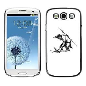 PC/Aluminum Funda Carcasa protectora para Samsung Galaxy S3 I9300 Man Warrior Sword Spear Shirtless Drawing Art / JUSTGO PHONE PROTECTOR