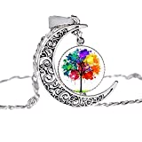 ink2055 Women Ladies Necklace Moon Tree of Life Faux Gemstone Necklace Decoration Pendant Jewelry Gift for Mom Wife Daughter Girlfriend s - 8