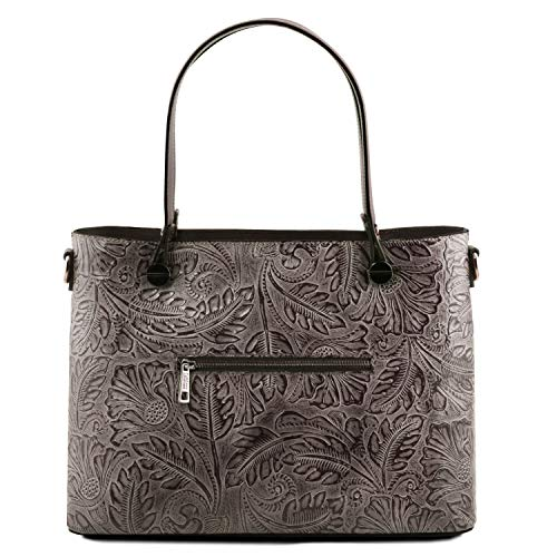 avec Sac Motif Floral Grey Cuir Grey Tuscany en Leather Atena Shopping 0YYFE8
