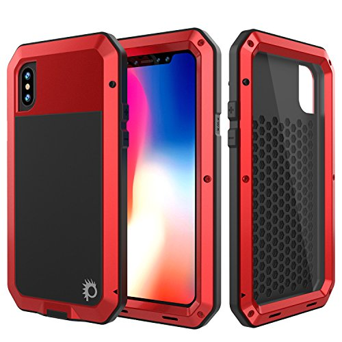 Punkcase Metal Case, Heavy Duty Military Grade Rugged Armor Cover [Shock Proof] Hard Aluminum & TPU Design W/Tempered Glass Screen Protector Compatible W/Apple iPhone Xs -