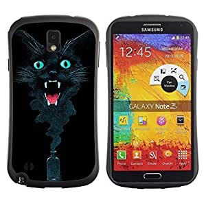 Hybrid Anti-Shock Bumper Case for Samsung Galaxy Note 3 / Cool Ink Cat Abstract Painting