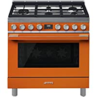 Smeg Portofino CPF36UGMOR 36x 25, 4.5 cu. ft. Oven Freestanding Pro-Style Dual Fuel Range, Orange