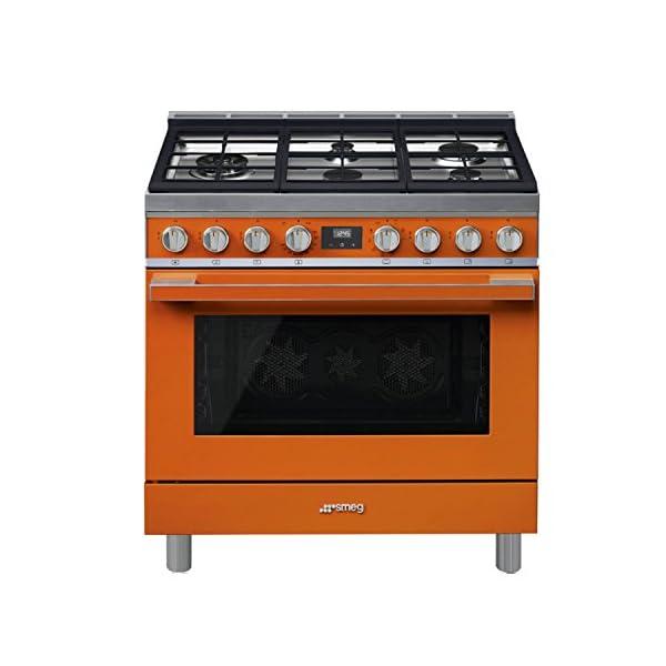 Smeg Portofino CPF36UGMOR 36''x 25'', 4.5 cu. ft. Oven Freestanding Pro-Style Dual Fuel Range, Orange 1