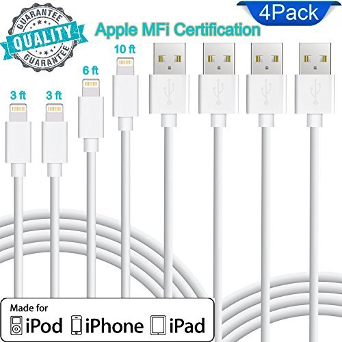 Lightning Cable Apple MFi Certified. Set of 4 charging cables in Pack (2pc - 3ft) (1pc - 6ft) (1pc - 10ft) for iPhone/iPad / iPod. Quality durable iPhone Lightning cables