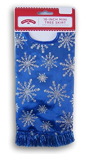Holiday Time 2017 Miniature Christmas Tree Skirt - Blue with Silver Glitter Snowflakes - 18 Inch