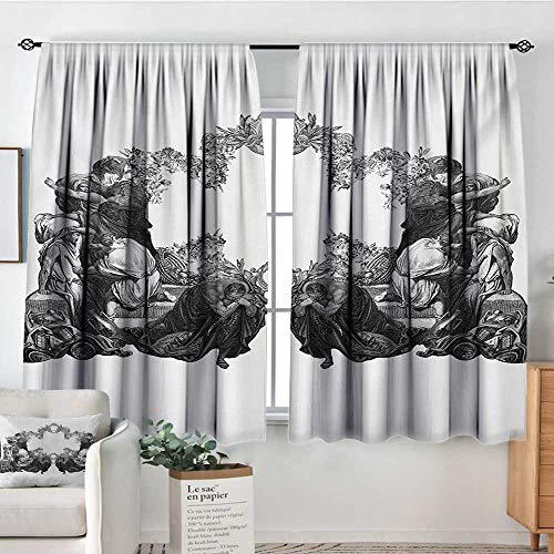 Mozenou Victorian Waterproof Window Curtain Frightened People Antique Sketch Art Floral Arch Flowers Leaves Western Culture Bedroom Blackout Curtains 63