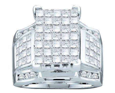 14K White Gold 3.00ctw Shiny Invisible Set Diamond Ladies Princess Fashion Ring