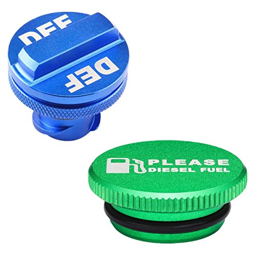 Billet Aluminum Green Fuel Cap Magnetic and Blue DEF Cap for Dodge Ram Cummins (2013-2017) Auto Parts ()