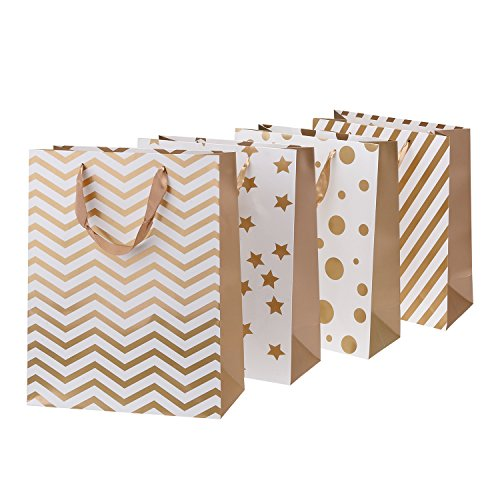 TtoyouU Large Kraft Paper Gift Shopping Bags Geometrical Pattern,Wedding Party Favors Bags,Set of 8pcs-Christmas Gift