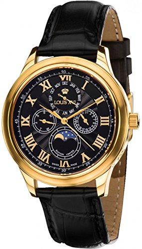 Louis XVI Men's Watch Élysée l'or Noir Swiss Made Moonphase Analog Quartz Genuine Leather Black 563
