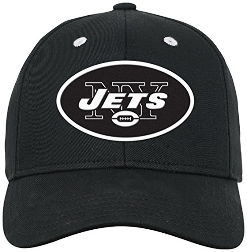 Outerstuff NFL Youth Boys Black and White Structured Adjustable Hat-Black-1 Size, New York Jets ()