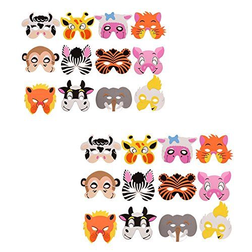 24 Pieces Assorted Foam Animal Masks Face Mask Zoo Masks for Birthday Party Halloween Favors Dress-Up,Zoo Farm Party Costume with Elastic Strap