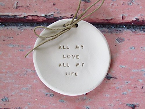 "Handmade Personalized ""All my love All my life"" Engraved Ceramic Dish - Alternative Ring Bearer Pillow, Wedding Shower Gift, Engagement Gift, Valentine's Day Gift"
