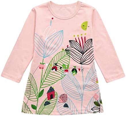 d021cbcc Connia Toddler Kids Fashion Dress Baby Girls Long Sleeves Pattern Dress  Outfit Clothes
