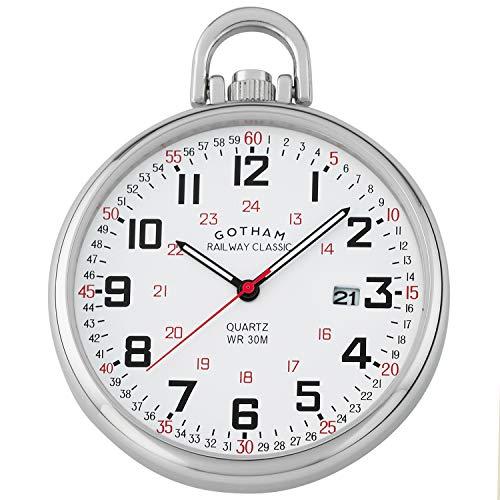 (Gotham Men's Stainless Steel Analog Quartz Date Railroad Style Pocket Watch # GWC14107S)