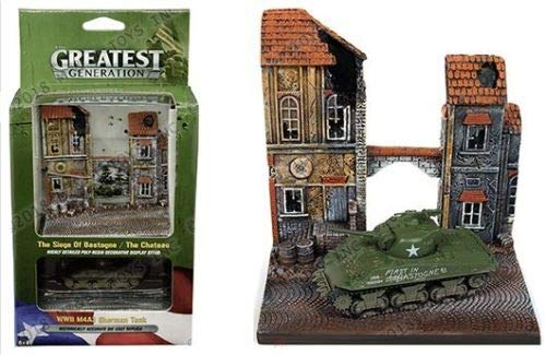 (New DIECAST Toys CAR Johnny Lightning 1:64 Diorama - The Greatest Generation - 1:100 WWII M4A3 Sherman Tank &The Chateau Resin Display JLSP024-24)