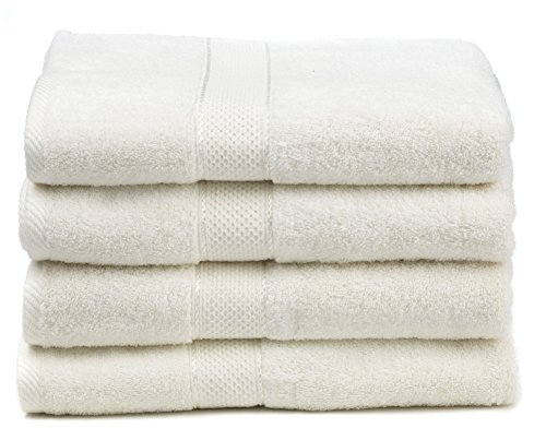 Premium Bamboo Cotton Bath Towels - Natural, Ultra Absorbent and Eco-Friendly 30' X 52' (White)