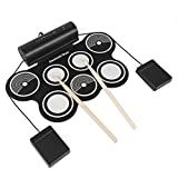 JouerNow 7 Pads Portable Electronic Roll Up Drum Pad Kit, Waterproof Silicone Digital Drum Set with Pedals, Record Function, Support Most Softwares & PC Games