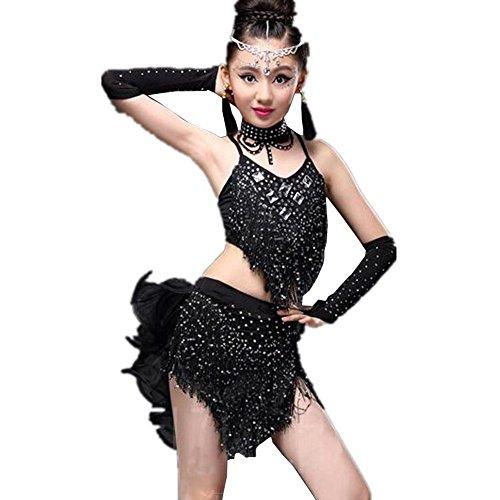YC WELL Girl's Tassel Latin Dance Costume Rumba Samba Tango Ballroom Cha Cha Cami Children Dance Dress Party Stage(Black,XL)