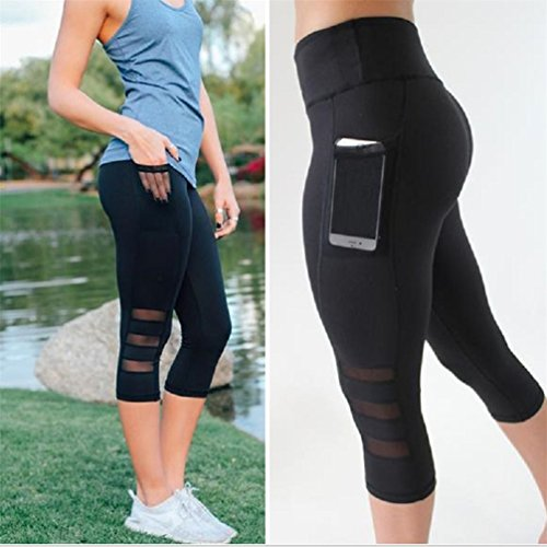 Womens Leggings Patchwork Mesh Yoga Pants Fitness Sports (XXL, Black) from Goodtrade8