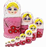 Winterworm Cute Lovely Pink Butterfly and Red Flower Pattern Handmade Wooden Russian Nesting Dolls Matryoshka Dolls Set 10 pieces For Kids Toy Birthday Christmas Gift Home Decoration