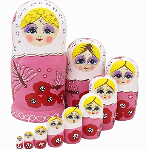 Winterworm Cute Lovely Pink Butterfly and Red Flower Pattern Handmade Wooden Russian Nesting Dolls Matryoshka Dolls Set 10 pieces For Kids Toy Birthday Christmas Gift Home Decoration by Winterworm