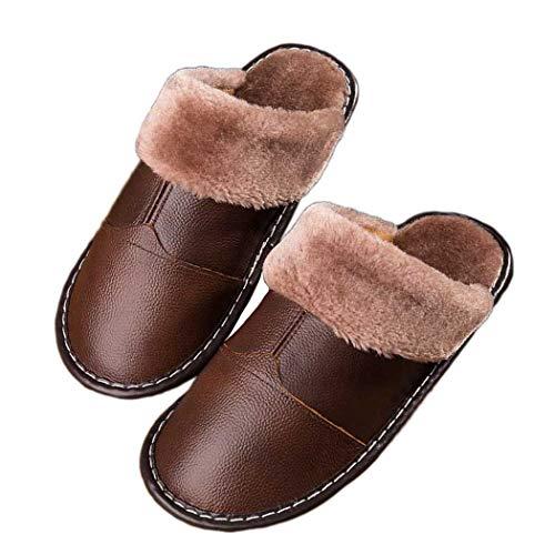 Donad Hiver Peluche Cuir Maison Véritable Femmes Chambre Chaud Accueil Chaussons Chaussures En Marron Hommes Couple Intérieur 4CwrHCdxq