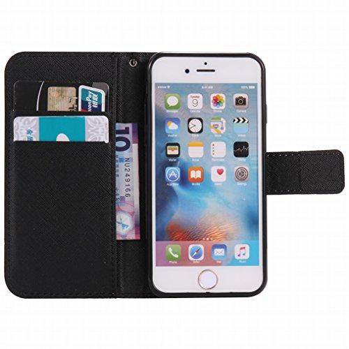 LEMORRY Apple iPhone 6s Plus (5.5) Custodia Pelle Cuoio Flip Portafoglio Borsa Sottile Fit Bumper Protettivo Magnetico Chiusura Standing Card Slot Morbido Silicone TPU Case Cover Custodia per Apple iP