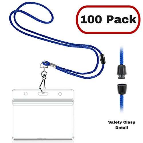 MIFFLIN Safety Lanyards with Horizontal ID Badge Holders (100 Pack, Royal Blue), Clear Plastic Pouch with Soft, Breakaway Lanyard ()