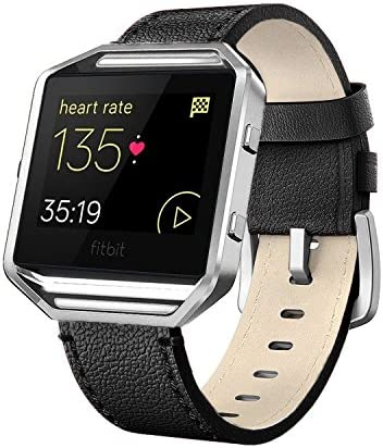 Beige//Black//Brown//Leopard//Grey Genuine Leather Band Replacement for Fitbit Blaze Fitness Tracker Large and Small Simpeak Leather Band with Case Compatible with Fitbit Blaze Smartwatch